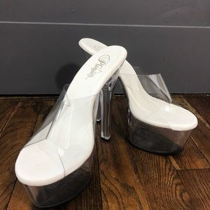 Clear Slip On Pleaser Heels NWOT